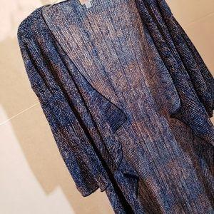 LuLaRoe Jackets & Coats - LulaRoe blue short sleeve duster sz M